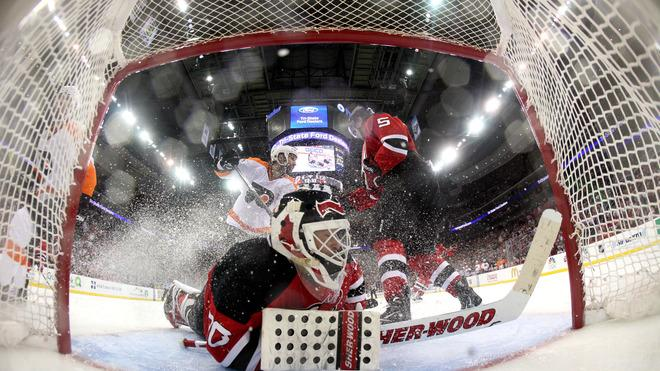 Martin Brodeur #30 Of The New Jersey Devils Tends Goal Against The Philadelphia Flyers In Game Three Of The Eastern Getty Images
