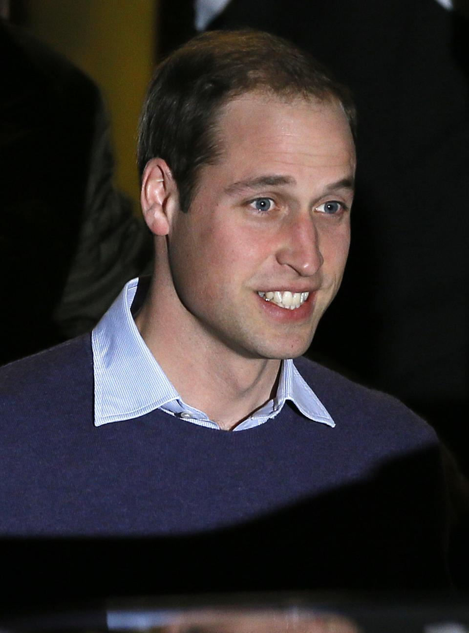Britain's Prince William leaves a hospital in central London, Tuesday, Dec. 4, 2012. Kate, The Duchess of Cambridge is being treated at the hospital for severe morning sickness. (AP Photo/Kirsty Wigglesworth)