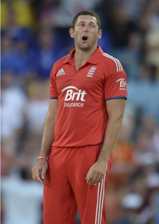 England's Bresnan reacts during their second T20 international cricket match against the West Indies in Barbados