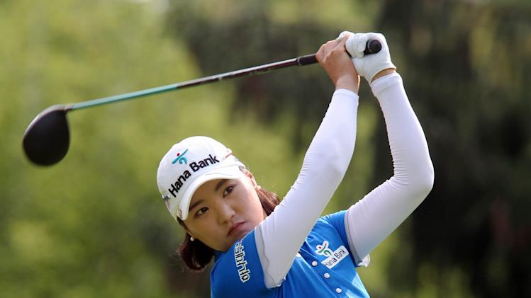 So Yeon Ryu, of South Korea watches her tee shot on the 14th hole at the Canadian Pacific Women's Open golf tournament in London, Ontario, Thursday, Aug. 21, 2014. (AP Photo/The Canadian Press, Dave Chidley)