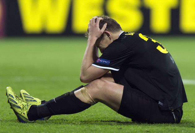 Anzhi Makhachkala's Aleksandr Bukharov reacts during their Europa League soccer match against AZ Alkmaar in Alkmaar