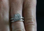 Sarah Darling shows her diamond rings in this undated image taken from video courtesy of KCTV5, in Kansas City Missouri. REUTERS/KCTV5/Handout