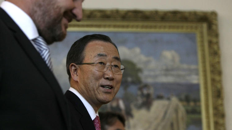 General of the United Nations Ban Ki-moon arrives for a meeting with the members of the Bosnian tri-partite Presidency during his visit to Sarajevo, Bosnia, Wednesday, July 25, 2012. The Secretary-General is on a regional tour of southeastern Europe. (AP Photo/Amel Emric)