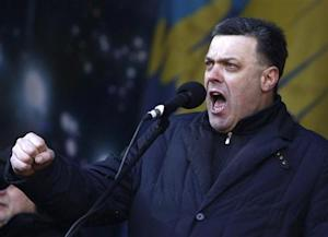 Ukrainian opposition leader Oleh Tyahnybok addresses anti-government protesters during a rally in central Kiev