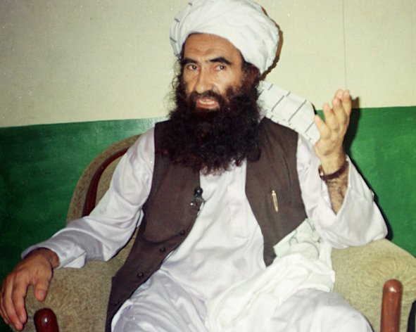 In this Aug. 22, 1998, file photo, Jalaluddin Haqqani, founder of the militant group the Haqqani network, speaks during an interview in Miram Shah, Pakistan.