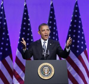 President Barack Obama speaks at The Associated Press luncheon during the ASNE Convention in Washington, Tuesday, April, 3, 2012. (AP Photo/Pablo Martinez Monsivais)