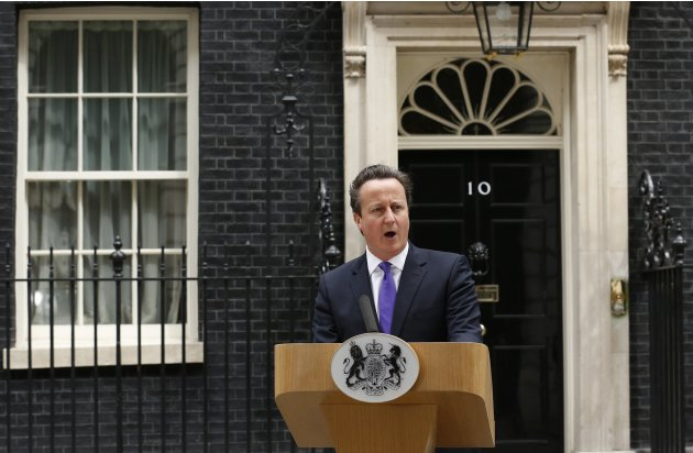 Britain's Prime Minster David Cameron speaks in front of 10 Downing Street ,about the killing of a British soldier, in London