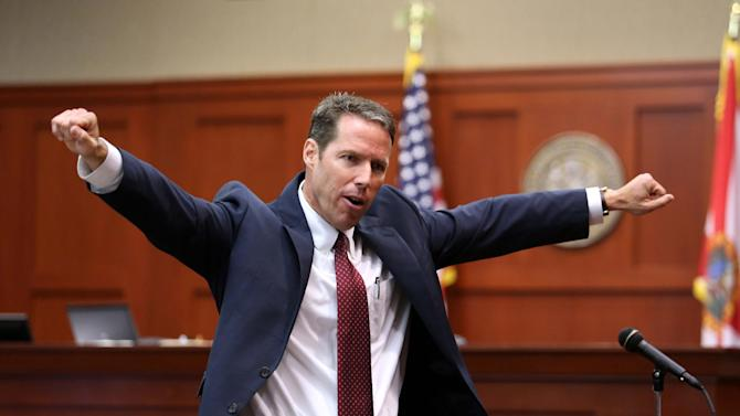 FILE - This June 24, 2013 file photo, Assistant State Attorney John Guy gestures during his opening statement in George Zimmerman's trial in Seminole circuit court, in Sanford, Fla., Zimmerman has been charged with second-degree murder for the 2012 shooting death of Trayvon Martin. (AP Photo/Orlando Sentinel, Joe Burbank, Pool)