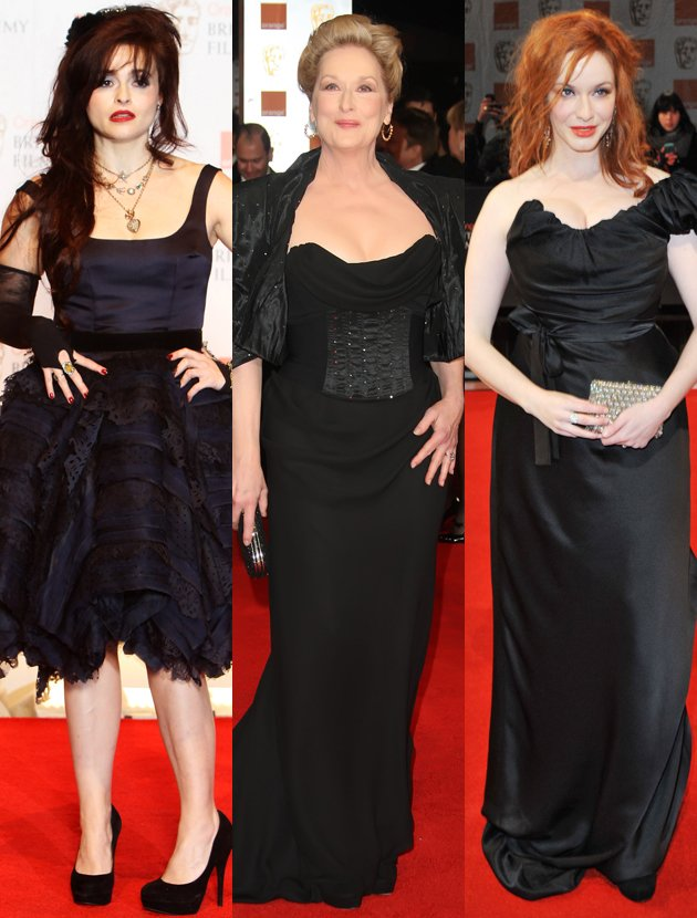 meryl-streep-helena bonham carter-and-christina-hendricks-bafta-black-dress