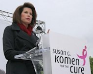 Nancy Brinker, founder of Susan G. Komen for the Cure, makes remarks at the Komen Community Challenge rally in Washington in 2007. Medical experts have accused the foundation of overselling pre-emptive mammography and understating the risks