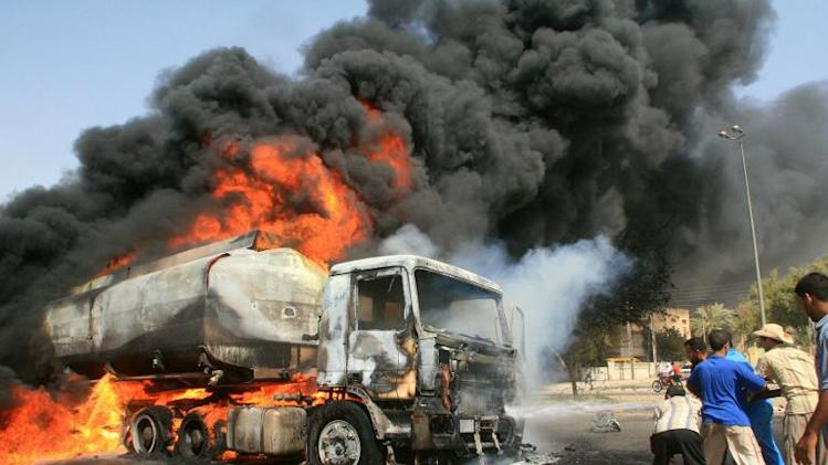 A fuel tanker burns in the southern city of Basra on May 21, 2007