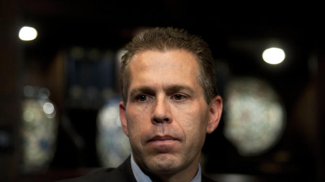 "Israeli Cabinet minister Gilad Erdan is seen during an interview with The Associated Press in Jerusalem, Monday, Sept. 12, 2011. Erdan said Monday his government is making ""every effort"" to prevent the U.N. from voting in favor of Palestinian statehood. (AP Photo/Sebastian Scheiner)"