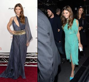 Jessica Biel at the 'Playing for Keeps' premiere/Justin Timberlake joins Jessica Biel following the 'Playing for Keeps' premiere -- Getty Images