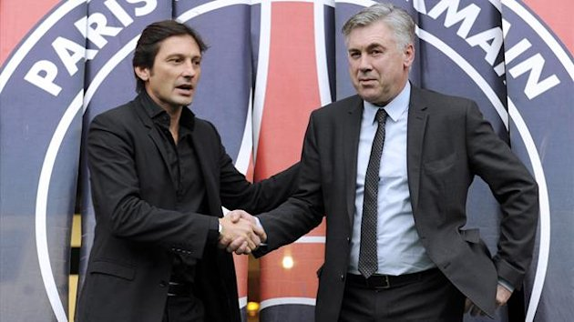 FOOTBALL PSG's Leonardo and Carlo Ancelotti (AFP)