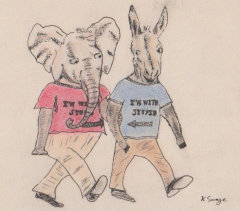 "Elephant and donkey holding hands, each wearing ""I'm with stupid"" t-shirts / Kelly Savage"