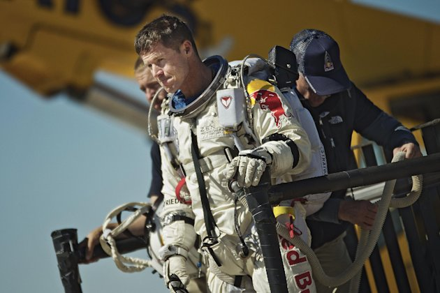 This photo provided by Red Bull Stratos shows pilot Felix Baumgartner of Austria reacting after his mission was aborted in Roswell, N.M., Tuesday, Oct. 9, 2012. For the second straight day, extreme athlete Felix Baumgartner aborted his planned death-defying 23-mile free fall because of the weather, postponing his quest to become the world&#39;s first supersonic skydiver until at least Thursday. (AP Photo/Red Bull Stratos, Joerg Mitter)