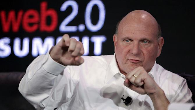 """In this Oct. 18, 2011, file photo, then-Microsoft CEO Steve Ballmer speaks at the Web. 2.0 Summit in San Francisco. Shortly before the start of a trial to determine whether Los Angeles Clippers owner Donald Sterling's estranged wife can sell the team, his lawyers filed a motion Thursday, July 3, 2014, to move the case to federal court, alleging his medical privacy has been violated. Shelly Sterling's attorney, Pierced O'Donnell, called the move a """"cowardly ploy"""" and Ballmer's attorney, Adam Streisand,  called the move """"desperate"""" and said his side would seek to block it"""