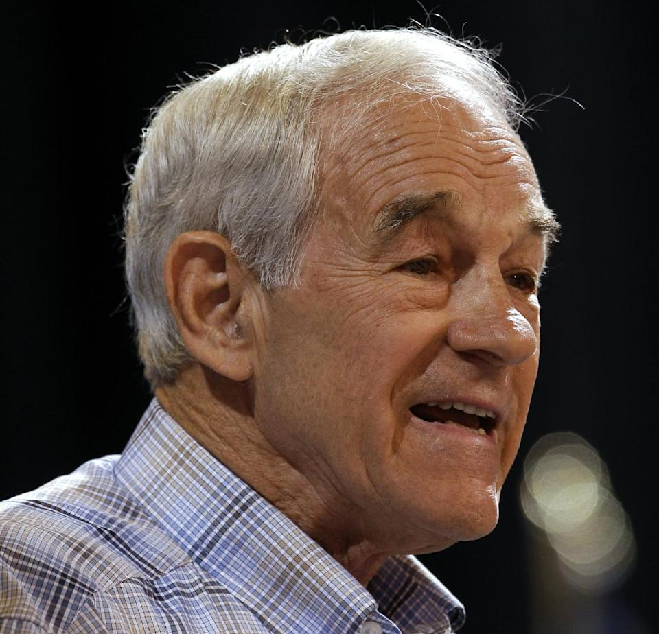 U.S. Rep. Ron Paul, R-Texas, speaks during the Iowa Republican Party's Straw Poll, Saturday, Aug. 13, 2011, in Ames, Iowa. (AP Photo/Charlie Neibergall)