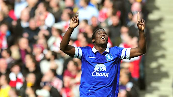 Everton's Romelu Lukaku celebrates after scoring against Arsenal in their FA Cup quarter-final match at the Emirates Stadium in London, on March 8, 2014