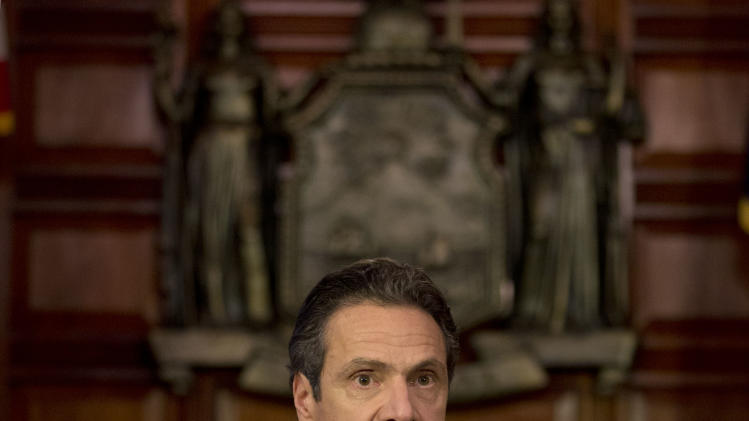New York Gov. Andrew Cuomo speaks during a news conference announcing an agreement with legislative leaders New York's Secure Ammunition and Firearms Enforcement Act in the Red Room at the Capitol on Monday, Jan. 14, 2013, in Albany, N.Y.  (AP Photo/Mike Groll)