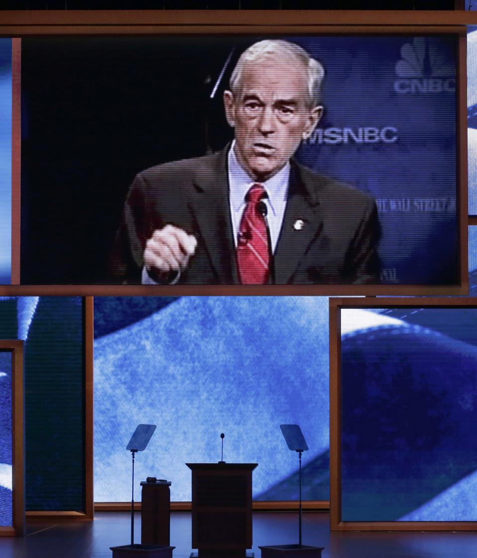 A video honoring of Rep. Ron Paul, R-Texas, is displayed during the Republican National Convention in Tampa, Fla., on Wednesday, Aug. 29, 2012. (AP Photo/J. Scott Applewhite)