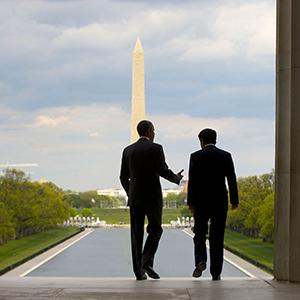 Obama and Japan's Abe Tour Lincoln Memorial