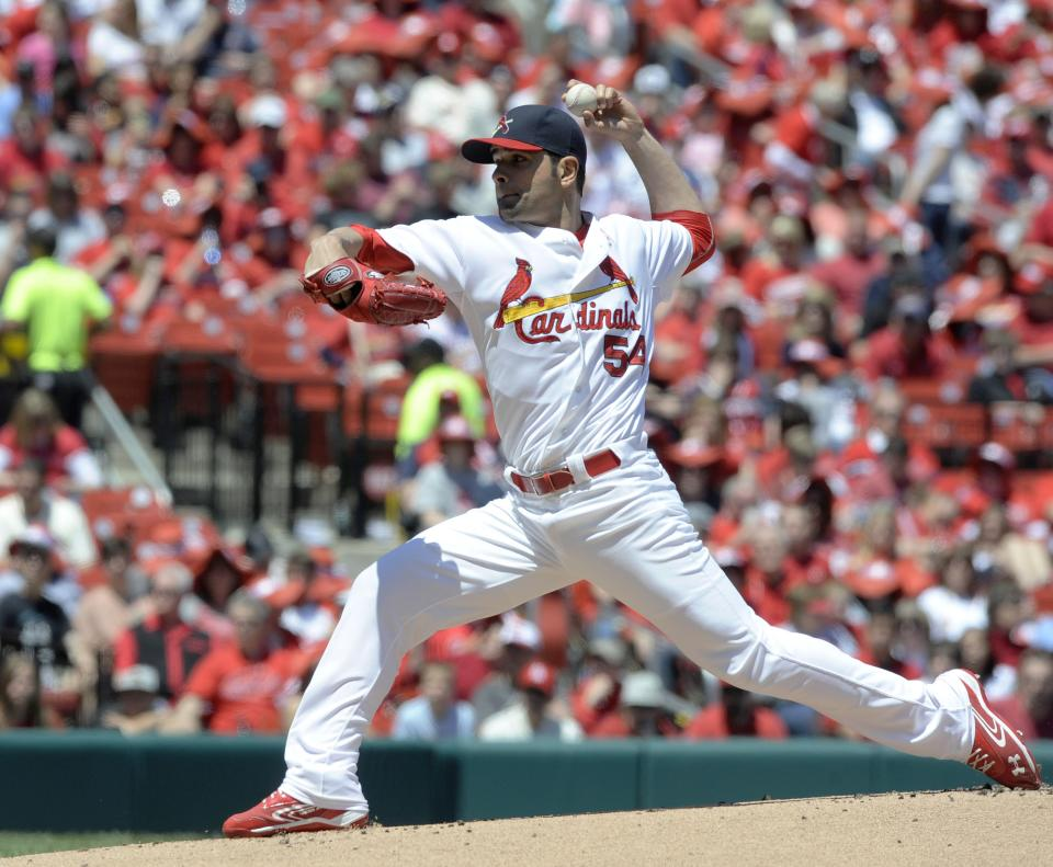 St. Louis Cardinals' starting pitcher Jaime Garcia throws against the Colorado Rockies in the first inning in a baseball game Sunday, May 12, 2013, at Busch Stadium in St. Louis. (AP Photo/Bill Boyce)