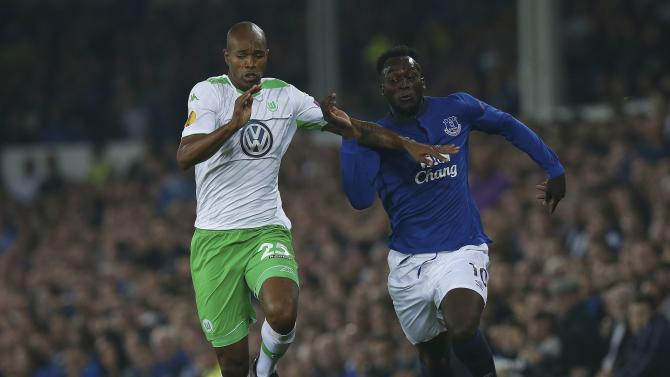 Everton's Lukaku is challenged by VfL Wolfsburg's Naldo during their Europa League soccer match at Goodison Park in Liverpool
