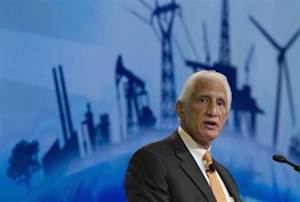 Apache Corp Chairman and CEO Farris speaks during the CERAWeek energy conference in Houston