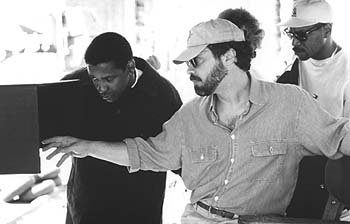 Denzel Washington and director Edward Zwick on the set of The Siege