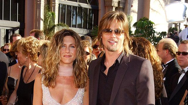 Jennifer Aniston and Brad Pitt at The 54th Annual Primetime Emmy Awards.