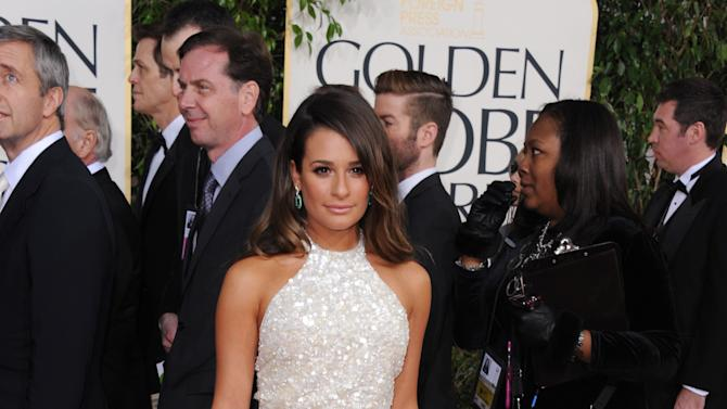 Actress Lea Michele arrives at the 70th Annual Golden Globe Awards at the Beverly Hilton Hotel on Sunday Jan. 13, 2013, in Beverly Hills, Calif. (Photo by Jordan Strauss/Invision/AP)