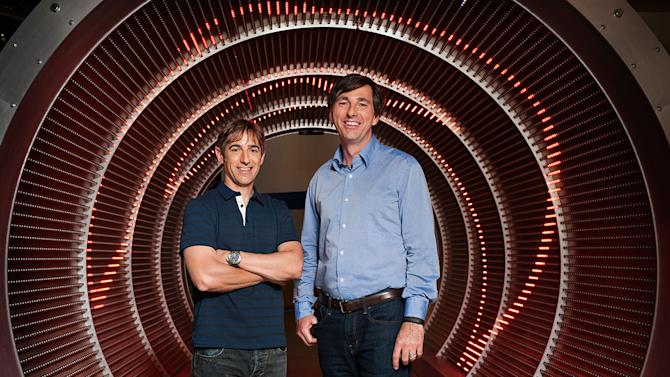 This undated photo provided by GlobeNewswire shows Zynga's new CEO Don Mattrick, right, with Zynga's founding CEO Mark Pincus. Zynga's CEO, Mark Pincus, is stepping down to be replaced by Don Mattrick, the head of Microsoft's Xbox business, Zynga announced Monday, July 1, 2013. (AP Photo/GlobeNewswire)