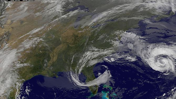Hurricane Joaquin is pictured in this satellite image off the east coast of the United States
