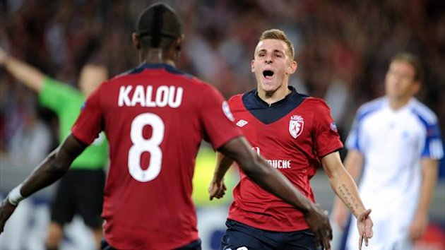 Lille's Salomon Kalou and Lucas Digne during their Champions League play-off against Copenhagen