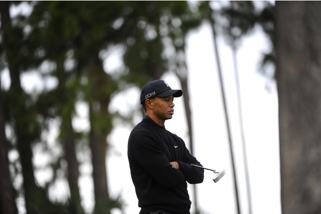 Tiger Woods of the U.S. waits to putt on the 3rd hole during the third round of play in the Honda Classic PGA golf tournament in Palm Beach Gardens