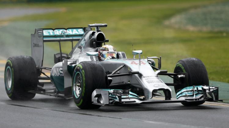 Mercedes Formula One driver Hamilton of Britain drives during the qualifying session for the Australian F1 Grand Prix in Melbourne
