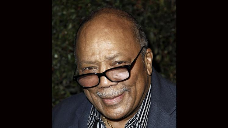 "FILE - Quincy Jones arrives at the world premiere of the music video for Paul McCartney's song, ""My Valentine"", in West Hollywood, Calif., in this April 13, 2012 file photo. Jones sued Jackson's estate on Friday, Oct. 25, 2013, claiming that he was owed millions in royalties and fees on music that's been used in post-death Jackson projects including the ""This Is It"" concert film. Jones produced Jackson's ""Off the Wall,"" ""Thriller"" and ""Bad"" albums. (AP Photo/Matt Sayles, File)"