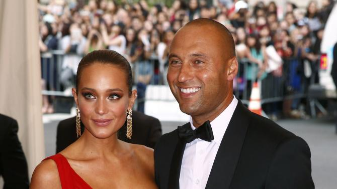 "Former New York Yankees great Derek Jeter and his girlfriend Hannah Davis arrive at the Metropolitan Museum of Art Costume Institute Gala 2015 celebrating the opening of ""China: Through the Looking Glass,"" in Manhattan"