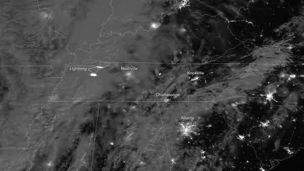 Lightning Flash from Severe Storms Seen from Space