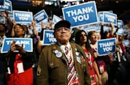 <p>Veteran Stephen Sherman takes part in the final day of the Democratic National Convention at Time Warner Cable Arena on September 6, 2012 in Charlotte, North Carolina. Hours before the president took the stage, he got a timely boost with news that Wall Street stocks hit their highest levels since 2007 amid a flurry of revived hopes for jobs growth and moves in Europe to quell the financial crisis</p>