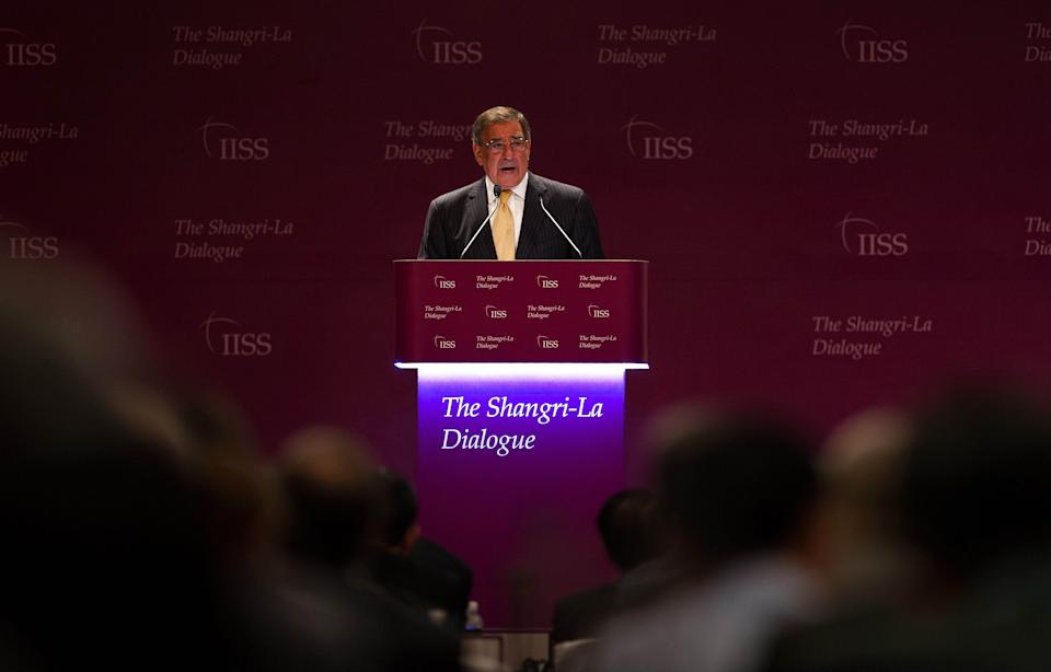 U.S. Defense Secretary Leon Panetta speaks at the opening of the International Institute for Strategic Studies (IISS) 11th Asia Security Summit in Singapore Saturday, June 2, 2012. (AP Photo9/Jim Watson, Pool)