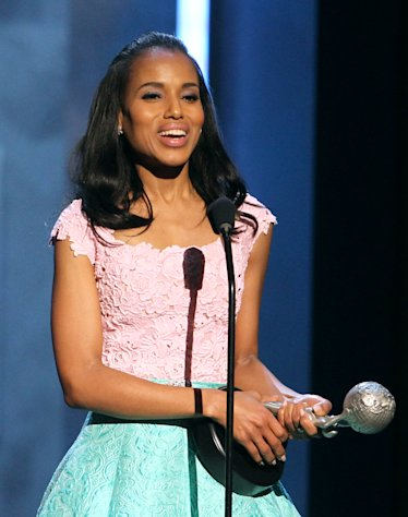 Kerry Washington accepts the President&#39;s award at the 44th Annual NAACP Image Awards at the Shrine Auditorium in Los Angeles on Friday, Feb. 1, 2013. (Photo by Matt Sayles/Invision/AP)