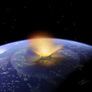 Artist's impression of a 6-mile-wide asteroid striking the Earth. Scientists think approximately 70 of these dinosaur killer-sized or larger asteroids hit Earth between 3.8 and 1.8 billion years ago.