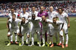 The U.S. national soccer team players pose before international friendly soccer match in Harrison, New Jersey