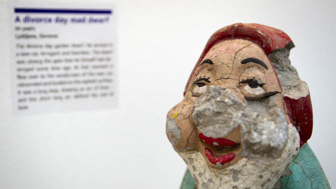 In this photo taken Friday, Feb. 10, 2012, a damaged garden gnome is displayed at the Museum of Broken Relationships in Zagreb, Croatia. The exhibits, collected from all over the world, are random and varied, ranging from fake breasts to a cast from a broken leg. Each item is accompanied by a summary of dates and locations of the relationships, and notes written by their anonymous donors. (AP Photo/Darko Bandic)