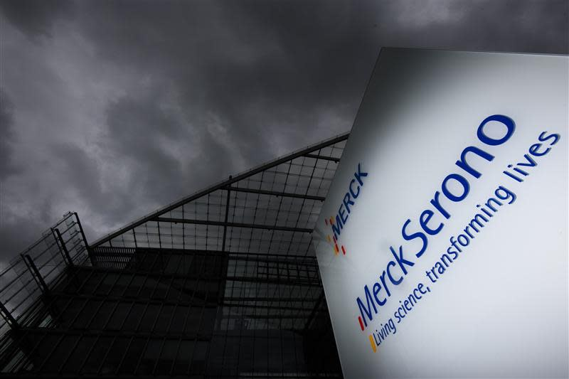 File of a logo of bio pharmaceutical company Merck Serono SA is pictured outside the company headquarters in Geneva