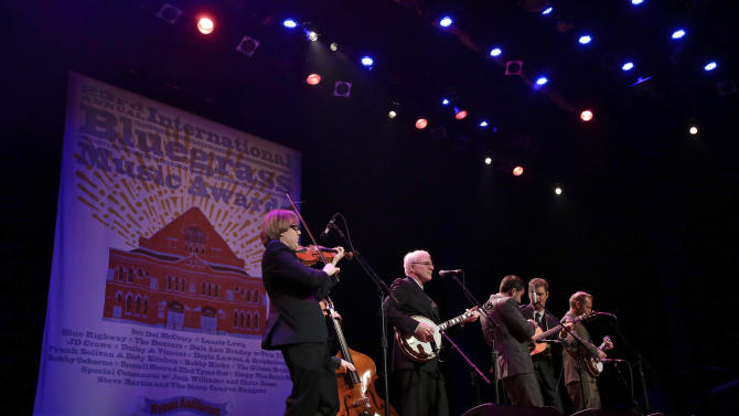 Steve Martin, second from left, and the Steep Canyon Rangers perform at the International Bluegrass Music Association Awards show on Thursday, Sept. 27, 2012, in Nashville, Tenn. (AP Photo/Mark Humphrey)