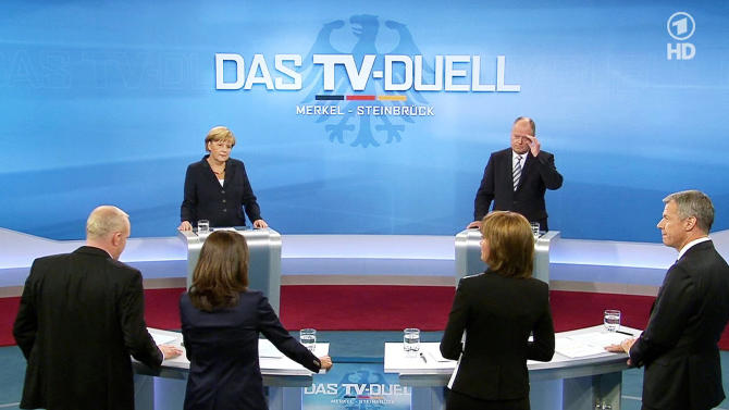 Merkel, German election rival debate euro crisis