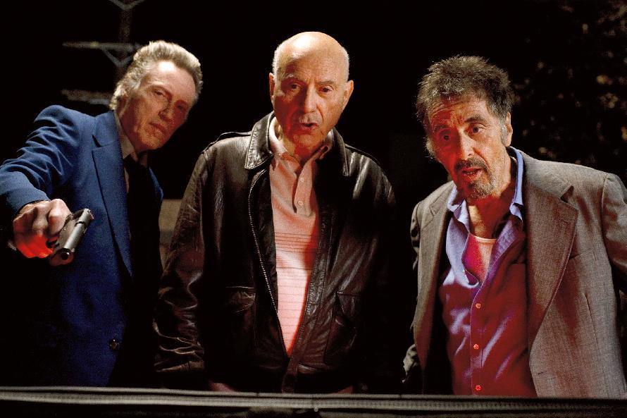 "This film image released by Roadside Attractions shows, from left, Christopher Walken as Doc, Alan Arkin as Hirsch, and Al Pacino as Val in a scene from ""Stand Up Guys."" (AP Photo/Roadside Attractions, Saeed Adyani)"